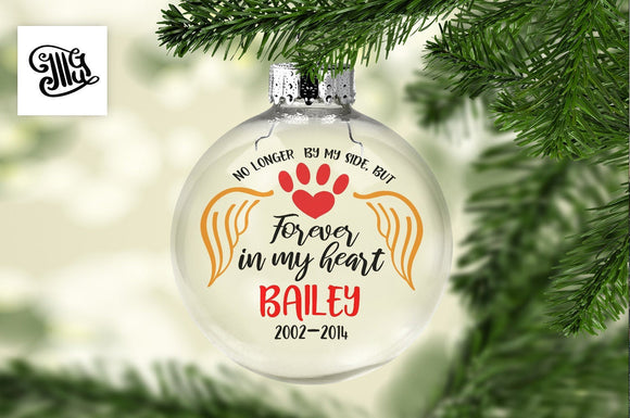 No longer by my side, but forever in my heart svg, pet Memorial svg, Christmas memorial svg, dog memorial svg, cat memorial svg, ornaments-by Illustrator Guru