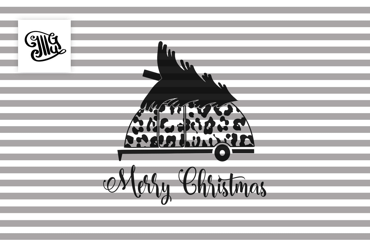 Merry Christmas Camper Svg with Leopard Print-by Illustrator Guru