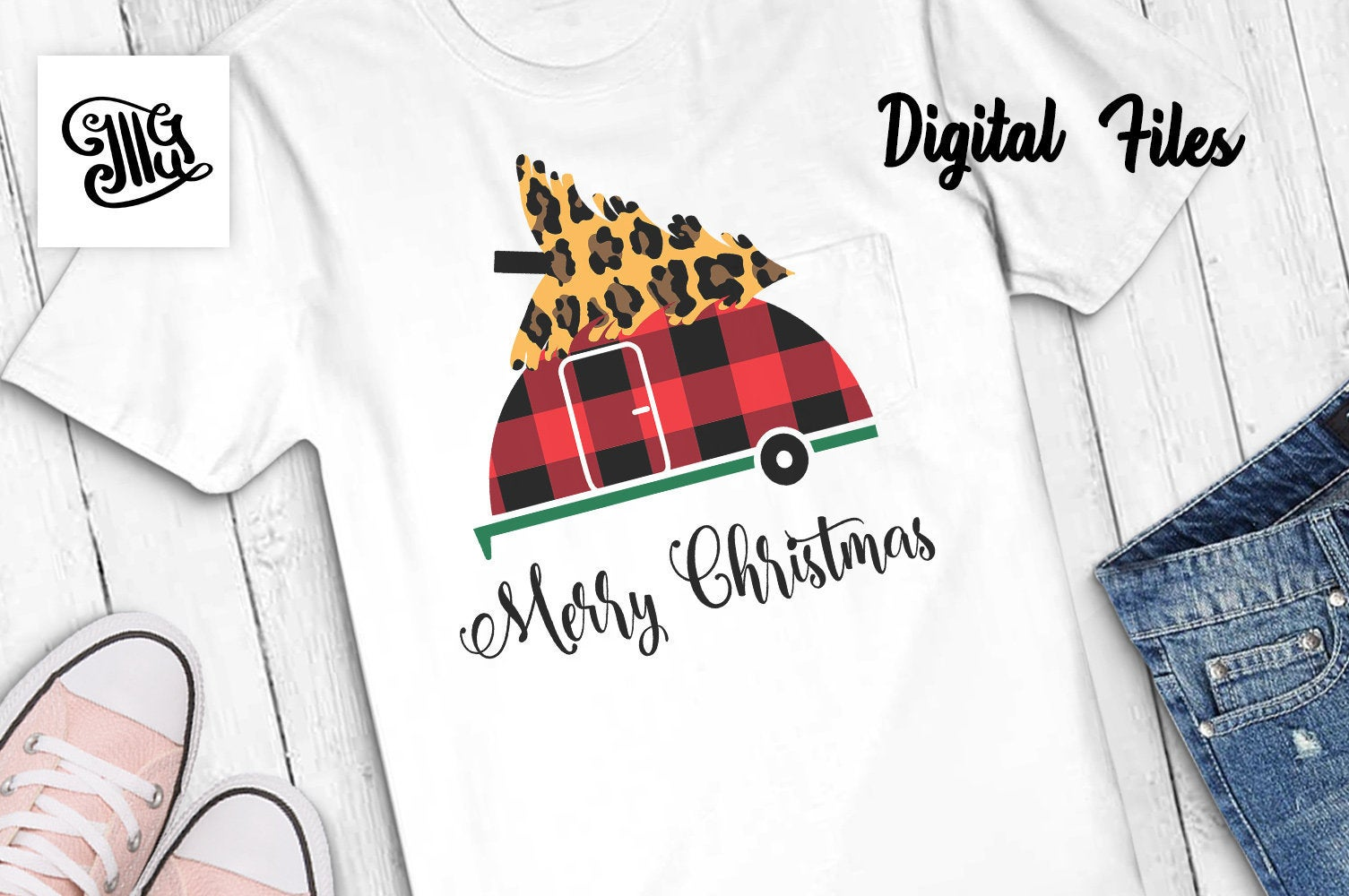 Merry Christmas camper svg with buffalo plaid pattern and leopard printed tree-by Illustrator Guru