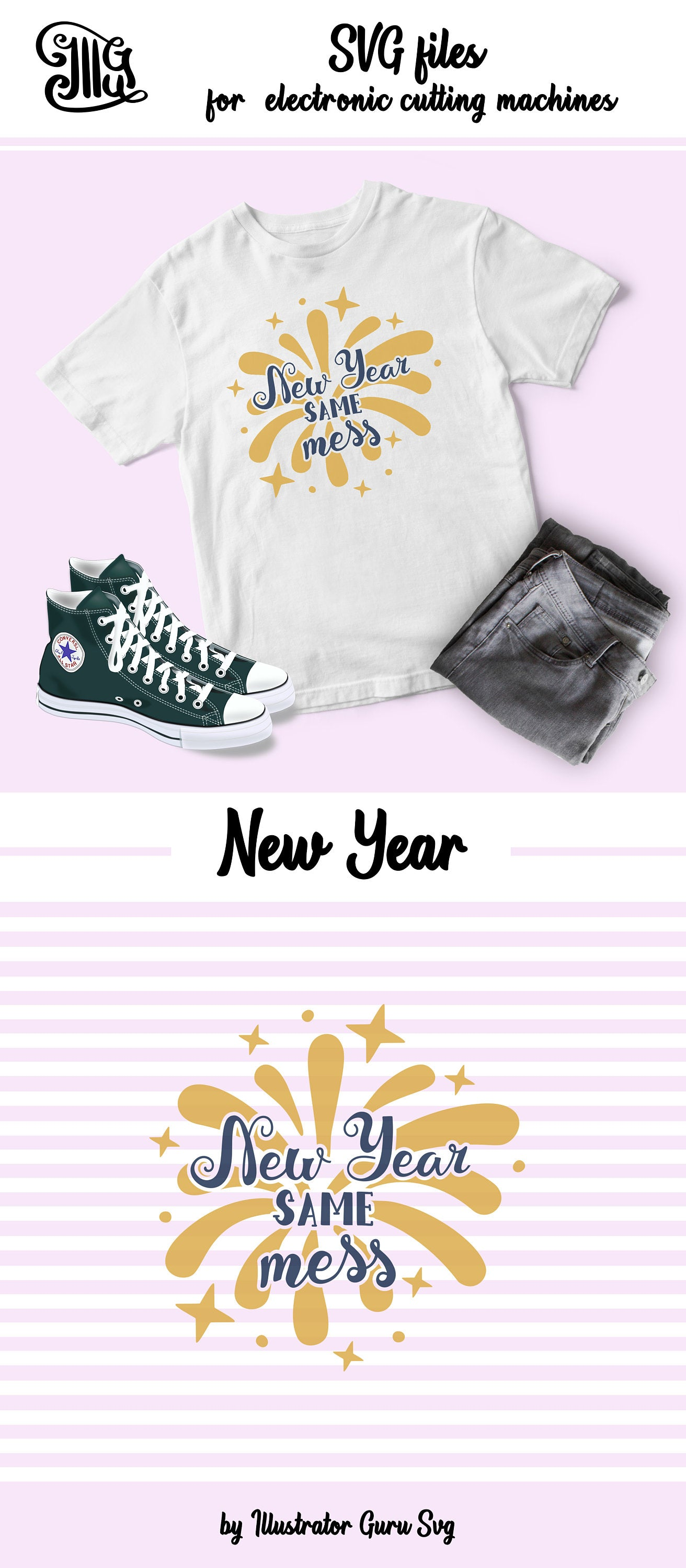New Year Svg, New Year Same Mess Svg, Happy New Year Printable, Happy New Year PNG, Happy New Year Sign Svg-by Illustrator Guru