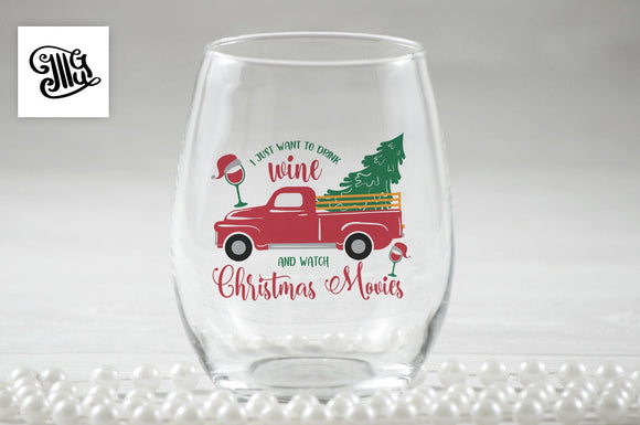 I just want to drink wine and watch Christmas movies svg, DIGITAL FILES, Christmas wine glass svg, Christmas wine svg, wine sayings svg-by Illustrator Guru