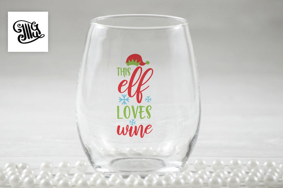 This elf loves wine svg, DIGITAL FILES, Christmas wine glass svg, Christmas wine svg, wine sayings svg, elf svg, mom wine svg, Christmas mom-by Illustrator Guru