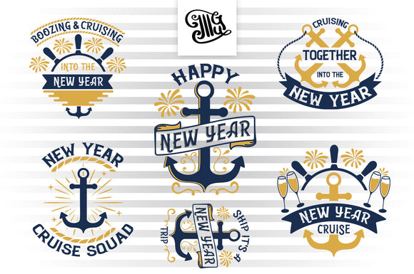 New Years Svg Bundle for New Year's Cruise Shirts, Cruise Magnets-by Illustrator Guru