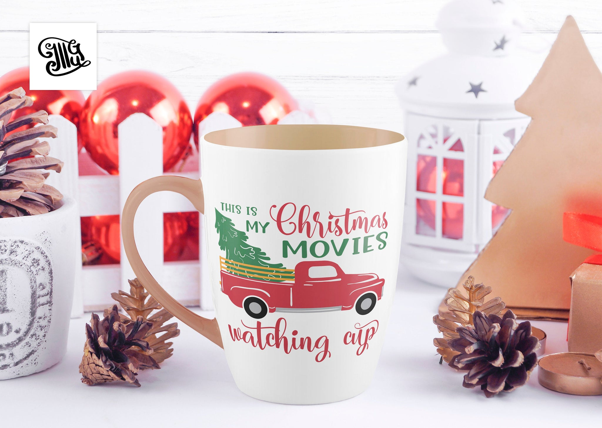 This Is My Christmas Movie Watching Cup Svg Vintage Truck With Christ Illustrator Guru