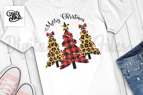 Merry Christmas tree Svg with Leopard and Buffalo Plaid Print, Christmas tree shirt svg, Christmas png sublimation, Holiday shirt svg-by Illustrator Guru