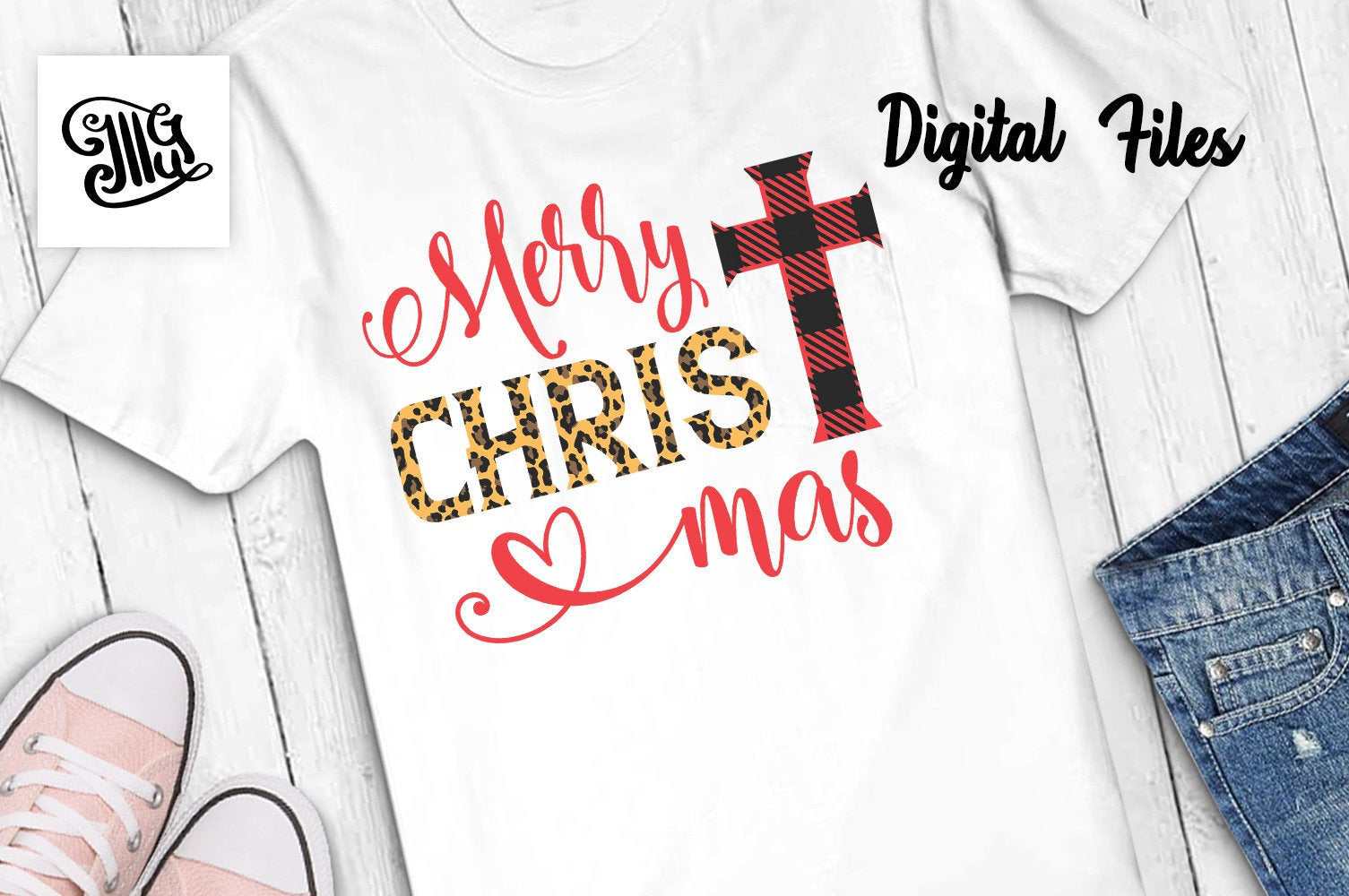 Merry Christmas with Cross Svg with Buffalo Plaid & leopard Print-by Illustrator Guru