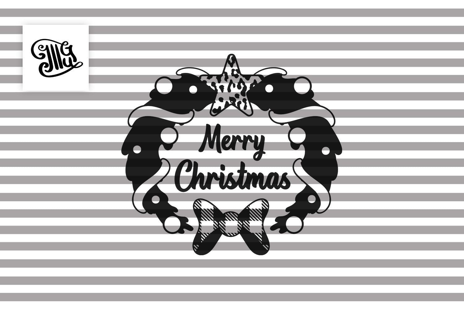 Merry Christmas Wreath Svg with Leopard and Buffalo Plaid Pattern-by Illustrator Guru