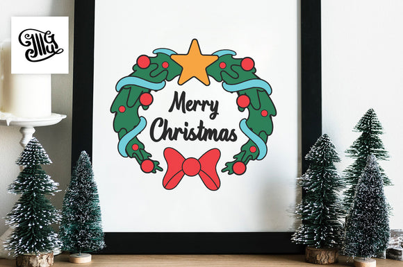 Merry Christmas Wreath Svg for christmas signs-by Illustrator Guru