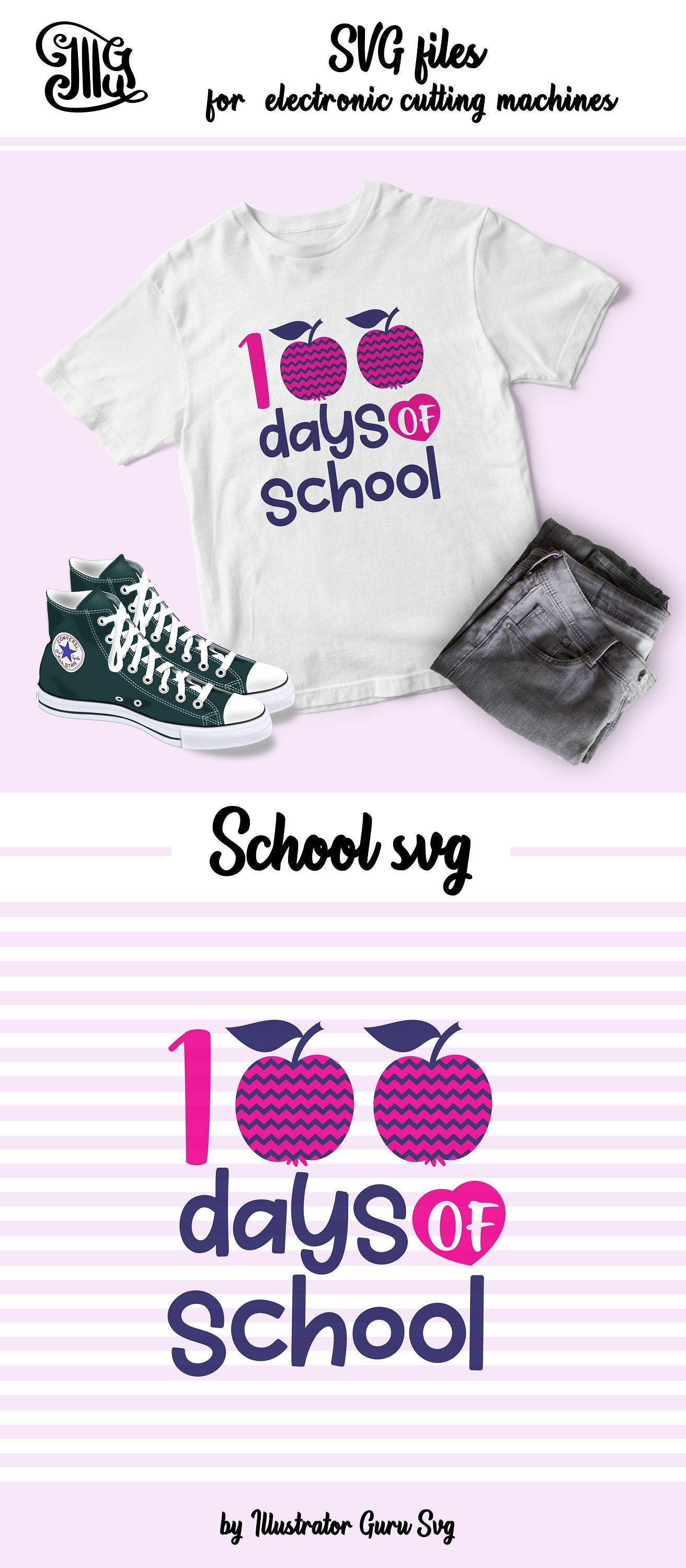 100 Days of School Svg for girls with Teacher Apple For Teacher and girls Shirt, 100th day svg,-by Illustrator Guru