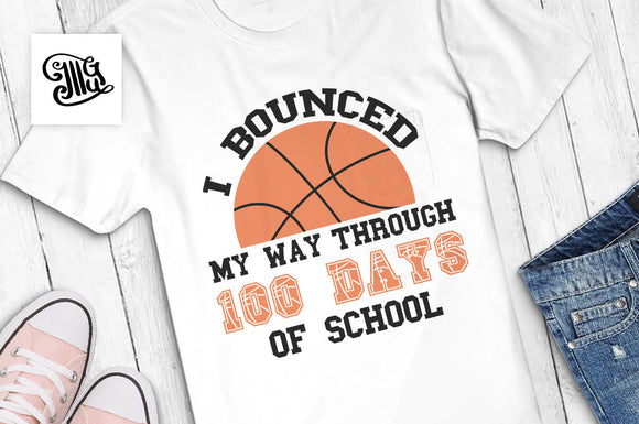 100 Days of School svg, School basketball Svg,-by Illustrator Guru