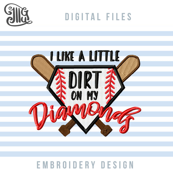 Girl Baseball Embroidery Designs, Baseball Diamond Embroidery Patterns, Baseball applique, Baseball Bat Pes File, Dirt on My Diamond Jef File, Sport Embroidery, Baseball Hats Embroidery, Baseball Ith Embroidery, Baseball Bags Embroidery-by Illustrator Guru