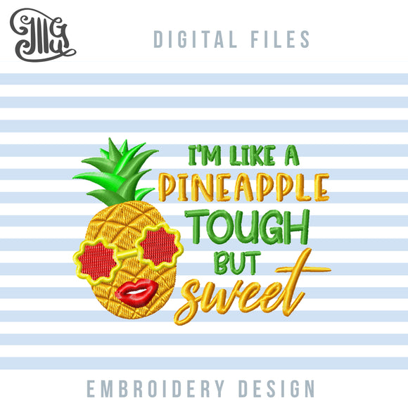 Pineapple Embroidery Designs, Tropical Pineapple Embroidery Pattern, Summer Pes Files, Golden Pineapple Jef Files, Vacation Embroidery Files-by Illustrator Guru