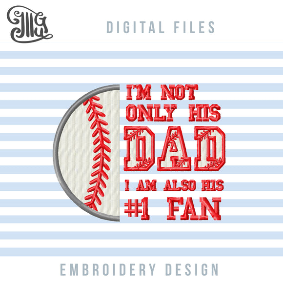 Baseball Dad Embroidery Designs, Baseball Embroidery Patterns, Baseball Applique, NR 1 Fan Baseball Embroidery Pes File, Biggest Fan Baseball Embroidery Files, Sports Embroidery Stitches, Birthday Baseball Embroidery-by Illustrator Guru
