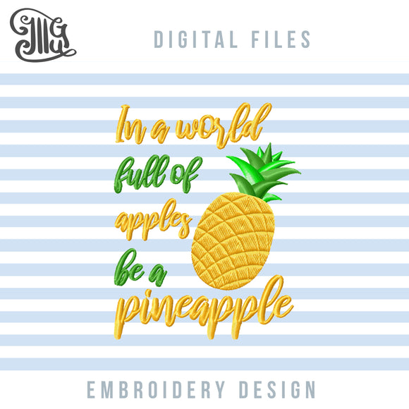 Pineapple Embroidery Designs for Machine Embroidery, Golden Pineapple Applique, Cute Pineapple Sayings Embroidery, Pineapple Applique Pes. Tropical Jef Files, Summer Embroidery, Vacation Embroidery, Girl Embroidery, Kids Embroidery-by Illustrator Guru