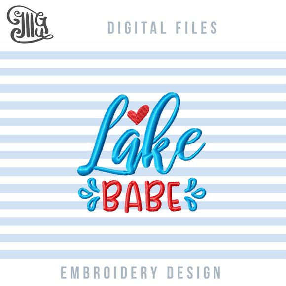 Lake Babe Embroidery Designs, Lake Sayings Embroidery Patterns, Camping Embroidery Files, Summer Embroidery Stitches, Vacation Embroidery, Girl Embroidery, Teen Embroidery-by Illustrator Guru