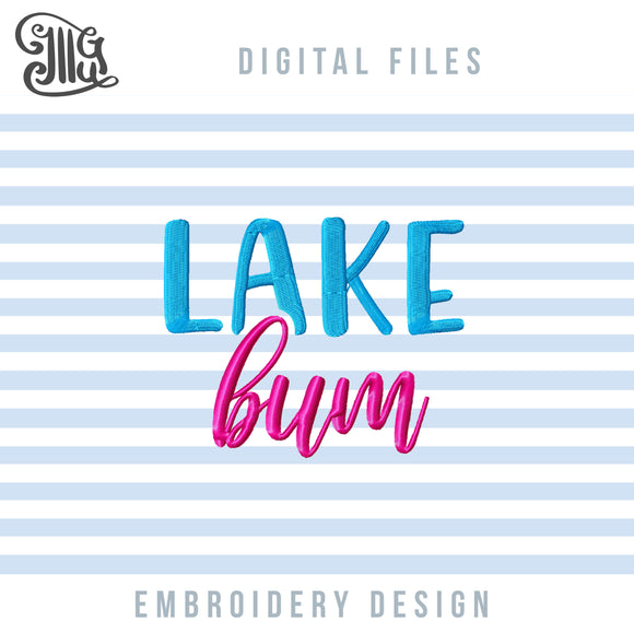 Lake Bum Embroidery Designs Free, Lake Embroidery Patterns FREE, Girl Embroidery Files, Summer Embroidery Stitches, Camping Embroidery, Vacation Embroidery, Summer Break Embroidery-by Illustrator Guru