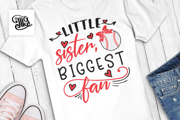 Little Sister Biggest Fan Baseball Svg for Baseball Shirts for Sister-by Illustrator Guru