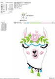 Llama Embroidery Designs, Llama Face Embroidery Patterns, Alpaca Applique, Alpaca Head Pes File, Llama Machine Embroidery Files, Cute Llama With Flowers Embroidery, Kids Embroidery-by Illustrator Guru