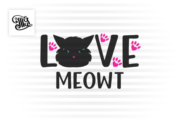 Cat Valentine svg with cute cat face design for valentine cat lover gifts-by Illustrator Guru