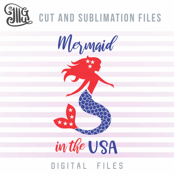 4th of July Svg, Beach Svg Cut File, Mermaid Svg File, Independence Day 2020 Sublimation Clipart, American Flag Mermaid Cut Files, Stars Svg-by Illustrator Guru