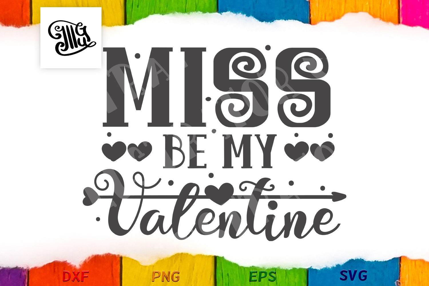Miss be my Valentine svg for little girls-by Illustrator Guru