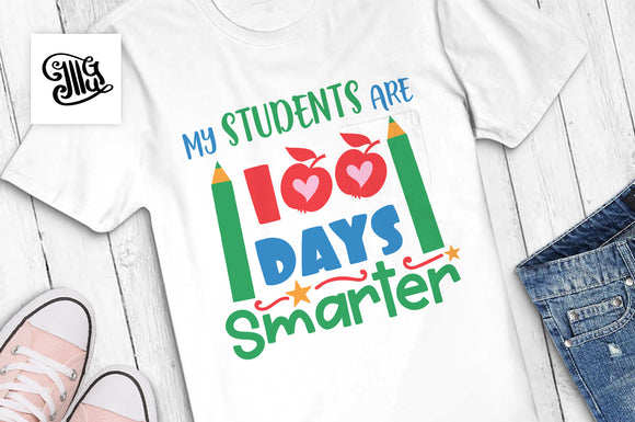 100 Days of School Svg with apples and pencils design for teacher t-shirts-by Illustrator Guru
