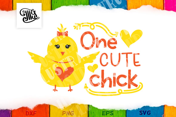 One cute chick svg | Girl Easter svg | Easter chick svg | Cute chick svg | Baby girl Easter svg | Toddler girl Easter svg-by Illustrator Guru