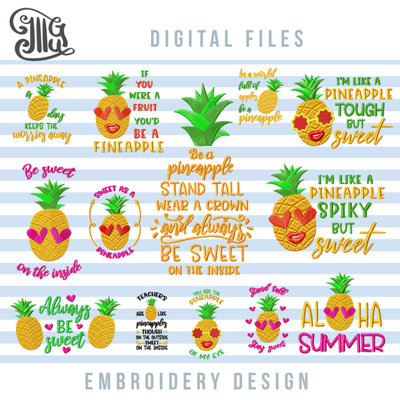 Gold Pineapple Embroidery Designs Bundle, Summer Sayings Embroidery Patterns, Tropical Embroidery Applique, Cute Pineapple Embroidery Quotes, Pineapple Face Pes Files, Pineapple With Sunglasses-by Illustrator Guru