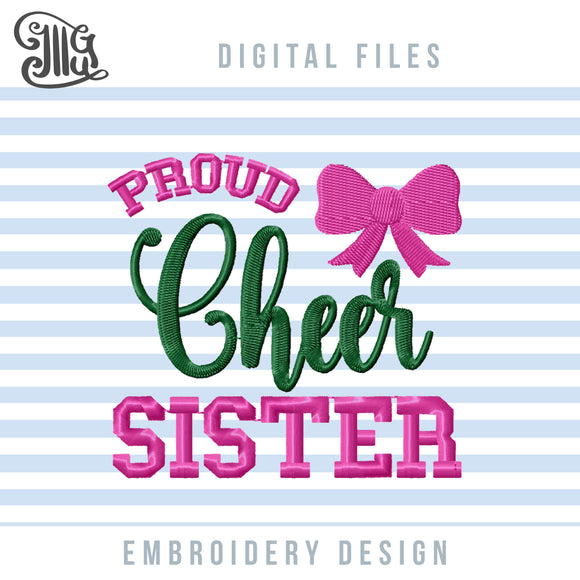 Cheer Sister Embroidery Designs, Cheer Bow Embroidery Patterns, Cheerleader Machine Embroidery Projects, Cheerleading Embroidery Files, Cheer Pes Files, Football Sister Embroidery, Sport Season, School Sports Embroidery, Uniform Embroidery-by Illustrator Guru
