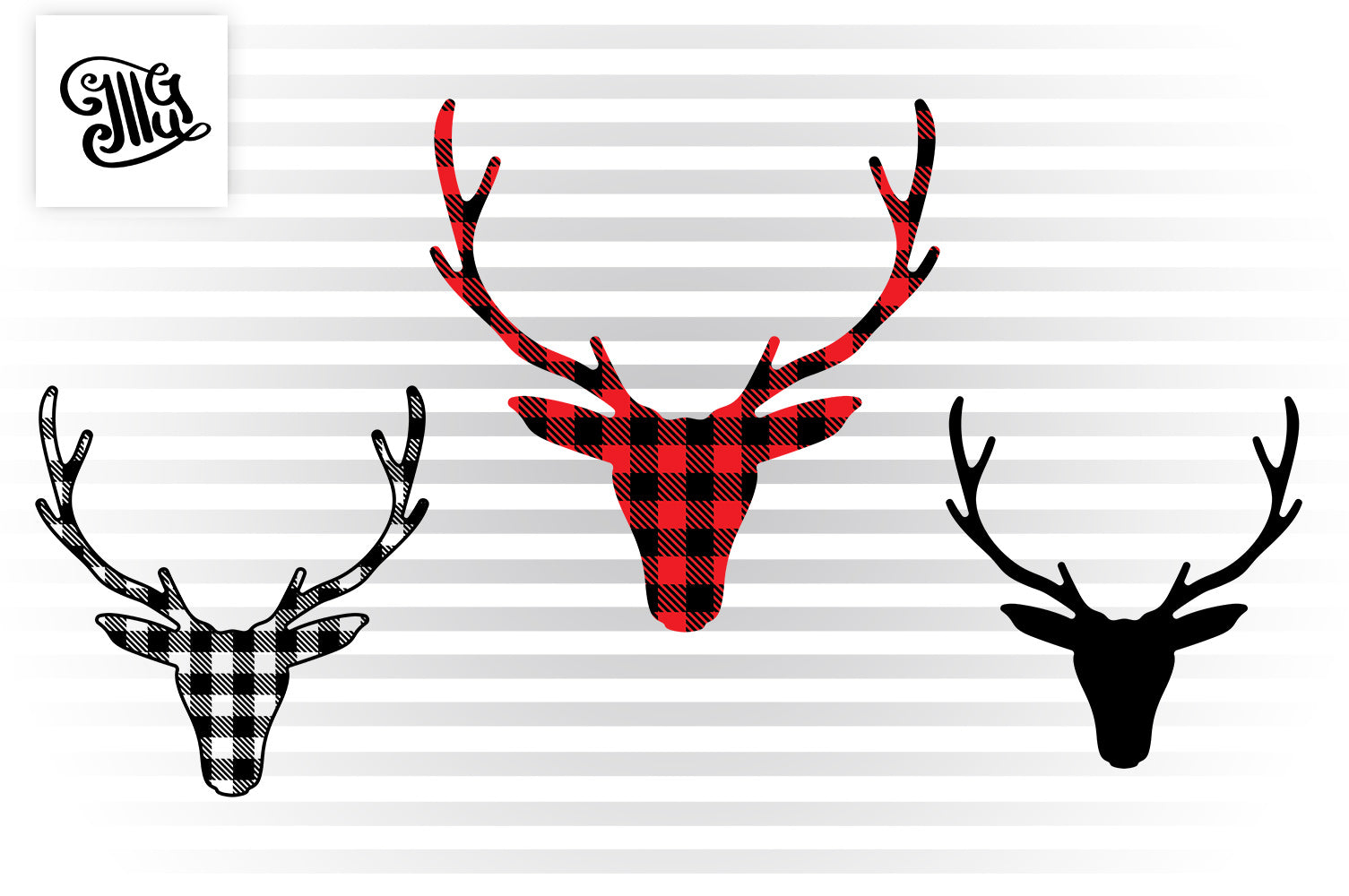 Reindeer face svg with buffalo plaid pattern-by Illustrator Guru
