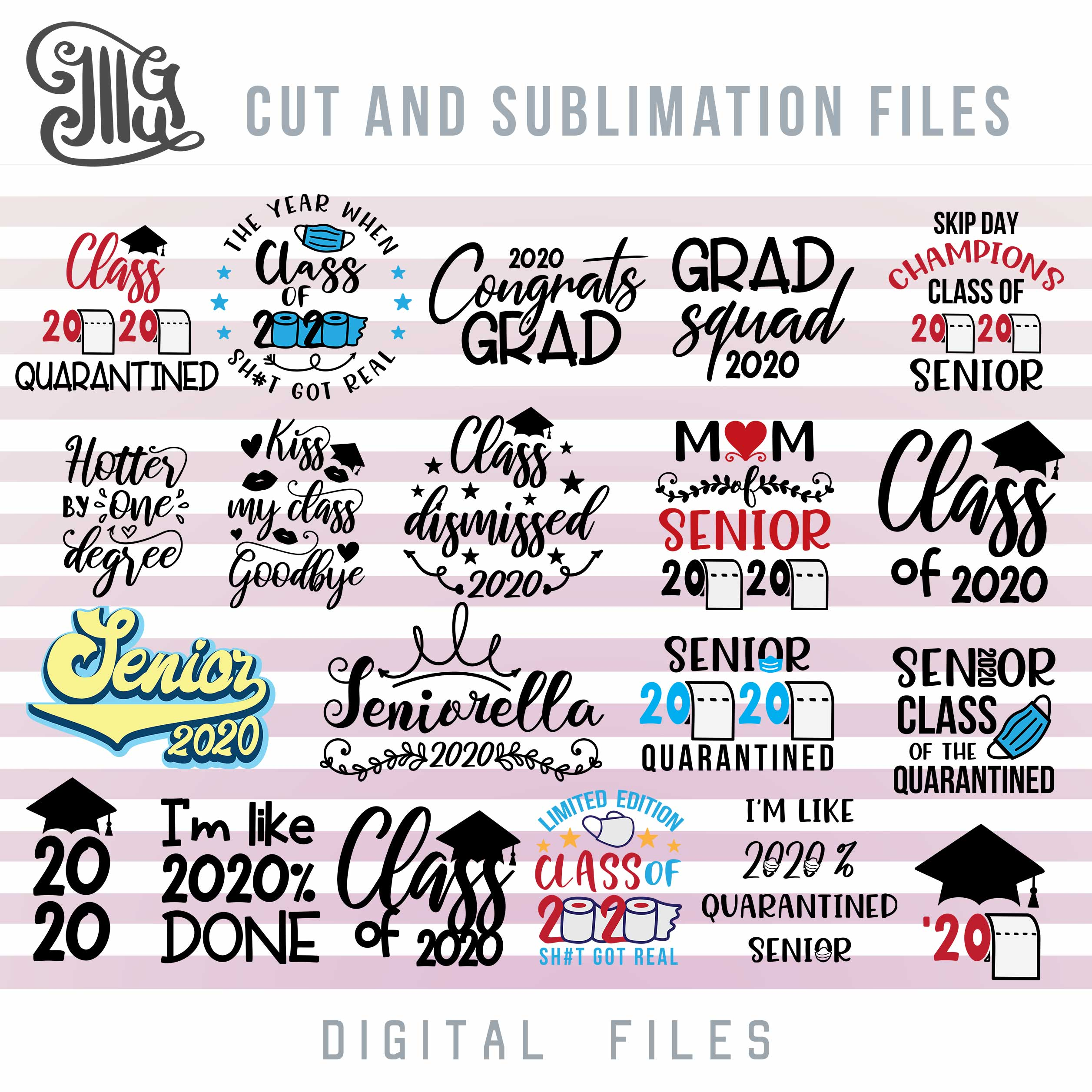 Quarantine Senior 2020 Svg Bundle, Class of 2020 Svg Cut Files, Graduation Sublimation Images, school svg-by Illustrator Guru