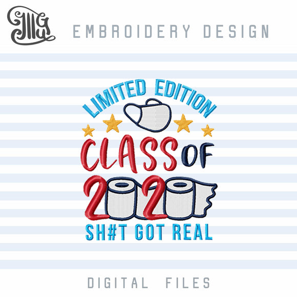 Graduation Embroidery Designs, Class of 2020 Embroidery Pattern, Quarantine Senior Embroidery Stitches, Senior Toilet Paper Embroidery File-by Illustrator Guru