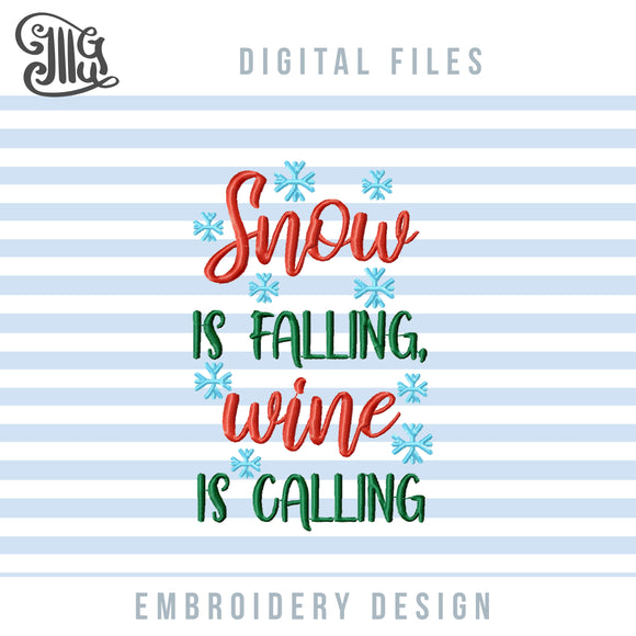 Winter Wine Embroidery Designs, Christmas Wine Bag Embroidery Patterns, Wine Bottle, Christmas Embroidery Aprons Pes Files, Wine Sayings Embroidery, Christmas Kitchen Towels Embroidery,-by Illustrator Guru