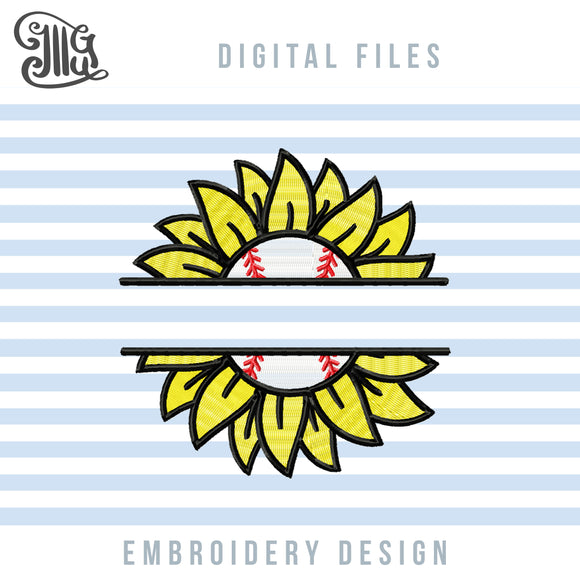 Baseball Monogram Embroidery Design, Baseball Embroidery Patterns, Sunflower Pes, Sunflower Monogram applique, Summer Embroidery, Sports Embroidery-by Illustrator Guru
