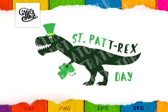 St Patricks Day dinosaur svg | Boy St Patricks Day svg | St. Patt-Rex svg-by Illustrator Guru