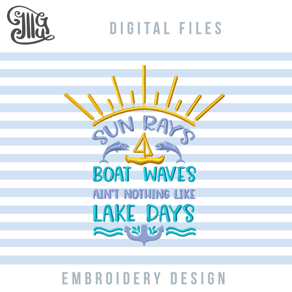 Lake Embroidery Designs, Boat Waves Embroidery Patterns, Sun Rays Embroidery Files, Anchor Embroidery Stitches, Fihes Embroidery, Fishing Embroidery, Camping Embroidery, Summer Embroidery, Vacation Embroidery, Lake Shirt Embroidery-by Illustrator Guru