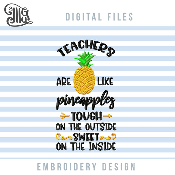 Teacher Pineapple Embroidery Designs, Pineapple Teacher Embroidery Patterns, Pineapple Pes Files, Teacher Sayings Embroidery Stitches, Summer Embroidery Files, Tropical Embroidery Quotes, Beach Machine Embroidery-by Illustrator Guru