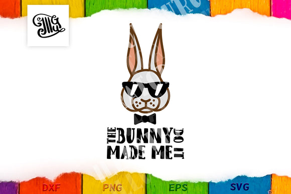 The bunny made me do it svg | Boy Easter svg | Hipster Easter bunny svg | Cool bunny svg | kids Easter svg | Bunny face svg | Bunny head svg-by Illustrator Guru