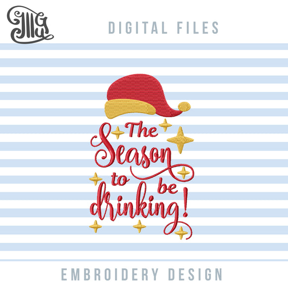 Funny Christmas Drinking Embroidery Designs, Alcohol Embroidery Patterns, Wine Bottle Embroidery, Wine Bags Embroidery, Pes Files, Wine Shirt Embroidery, Christmas Embroidery, Wine Embroidery, Christmas Funny Ornaments-by Illustrator Guru
