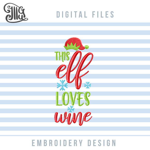 Christmas Wine Bag Embroidery Designs, Wine Bottle Aprons Embroidery Patterns, Elf Hat Embroidery Files, Wine Tote Embroidery Sayings, Wine Pes Files, Wine Quotes, Christmas Embroidery, Kitchen Towels Embroidery-by Illustrator Guru