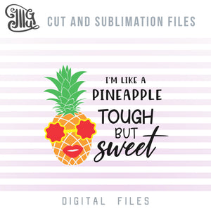 Hawaiian Pineapple Clipart, Pineapple SVG File, Pineapple With Sunglasses Clipart, Pineapple Silhouette PNG, Tropical SVG, Summer Sublimation Designs, Vacation Cut Files-by Illustrator Guru