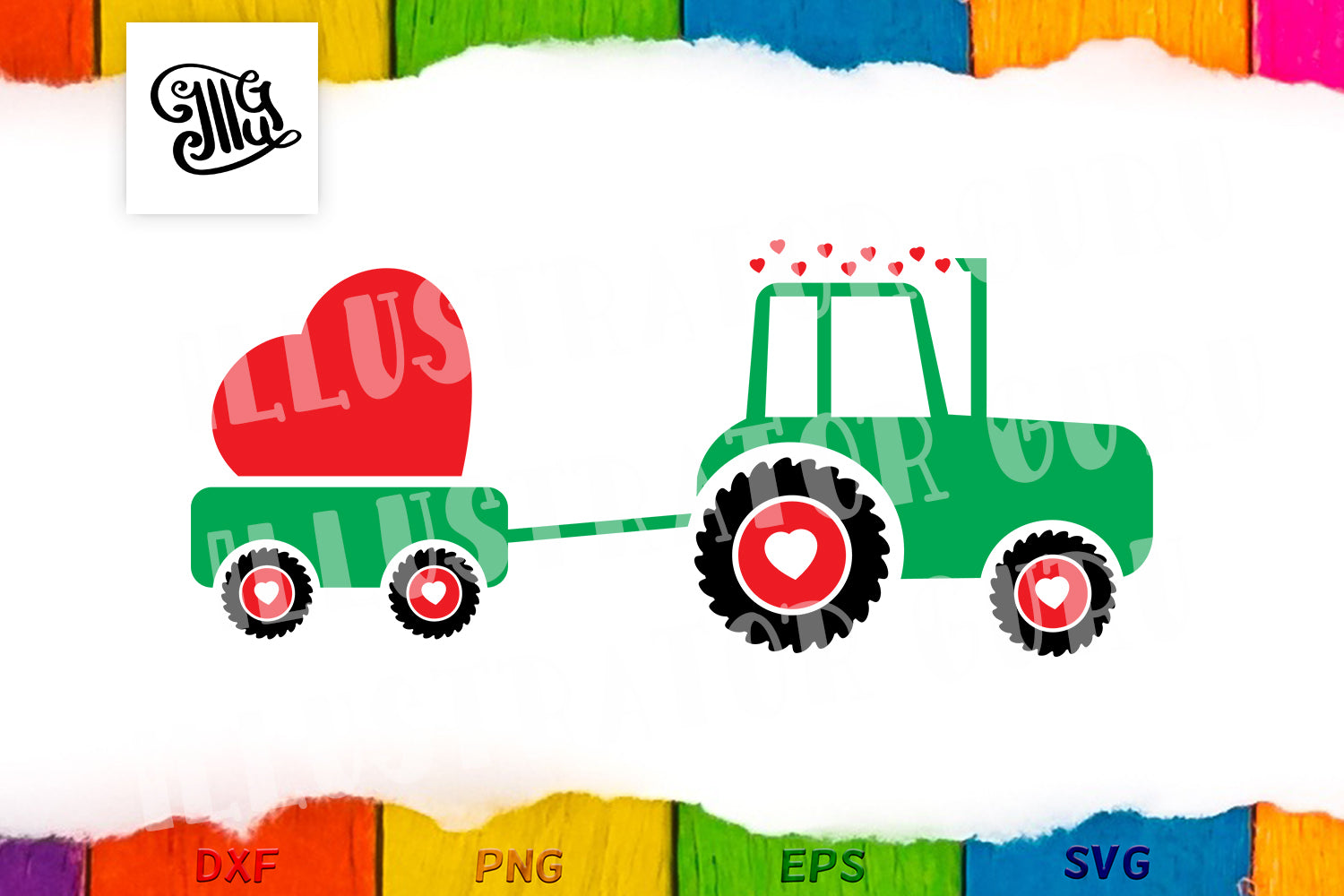 Valentine love tractor svg for girls and boys-by Illustrator Guru