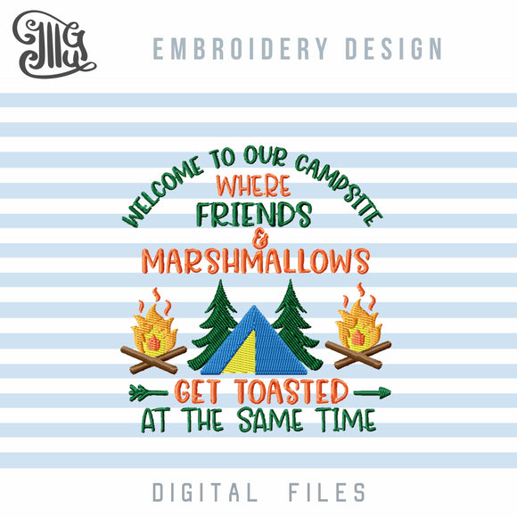 Campsite Embroidery Designs, Camping Embroidery Pattern, Campfire Embroidery Stitches, Tent Embroidery, Pine Tree Embroidery, Camping Sayings Embroidery, Camping Chair Embroidery, Summer Vacation Embroidery, Travel Embroidery, Camp Embroidery-by Illustrator Guru