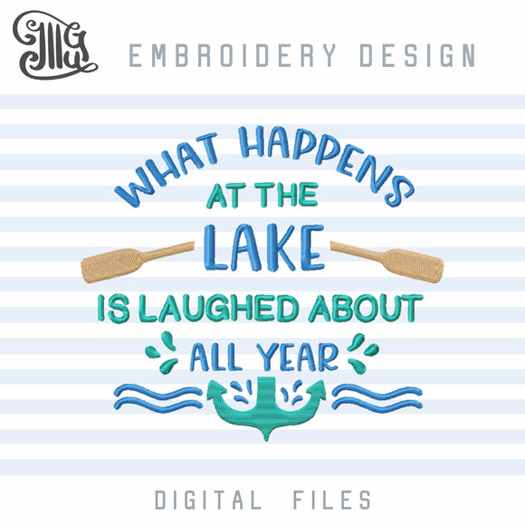 Lake Embroidery Designs, Lake Sayings Embroidery File, Vacation Embroidery Stitches, Summer Embroidery Pattern, Lake Boat Embroidery, Anchor Embroidery, Waves Embroidery-by Illustrator Guru