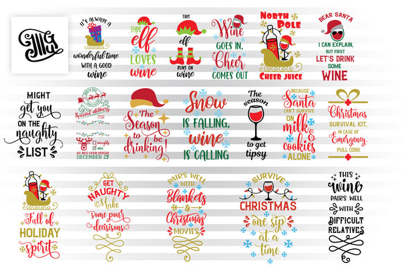 Christmas Wine Bag SVG Bundle, Santa Hat Wine Glass Clipart, Elf Wine PNG, Wine Sayings Images for Sublimation, Sleigh Wine Bottle and Glass SVG Cut Files, Snowflakes SVG Files, Funny Wine Quotes-by Illustrator Guru
