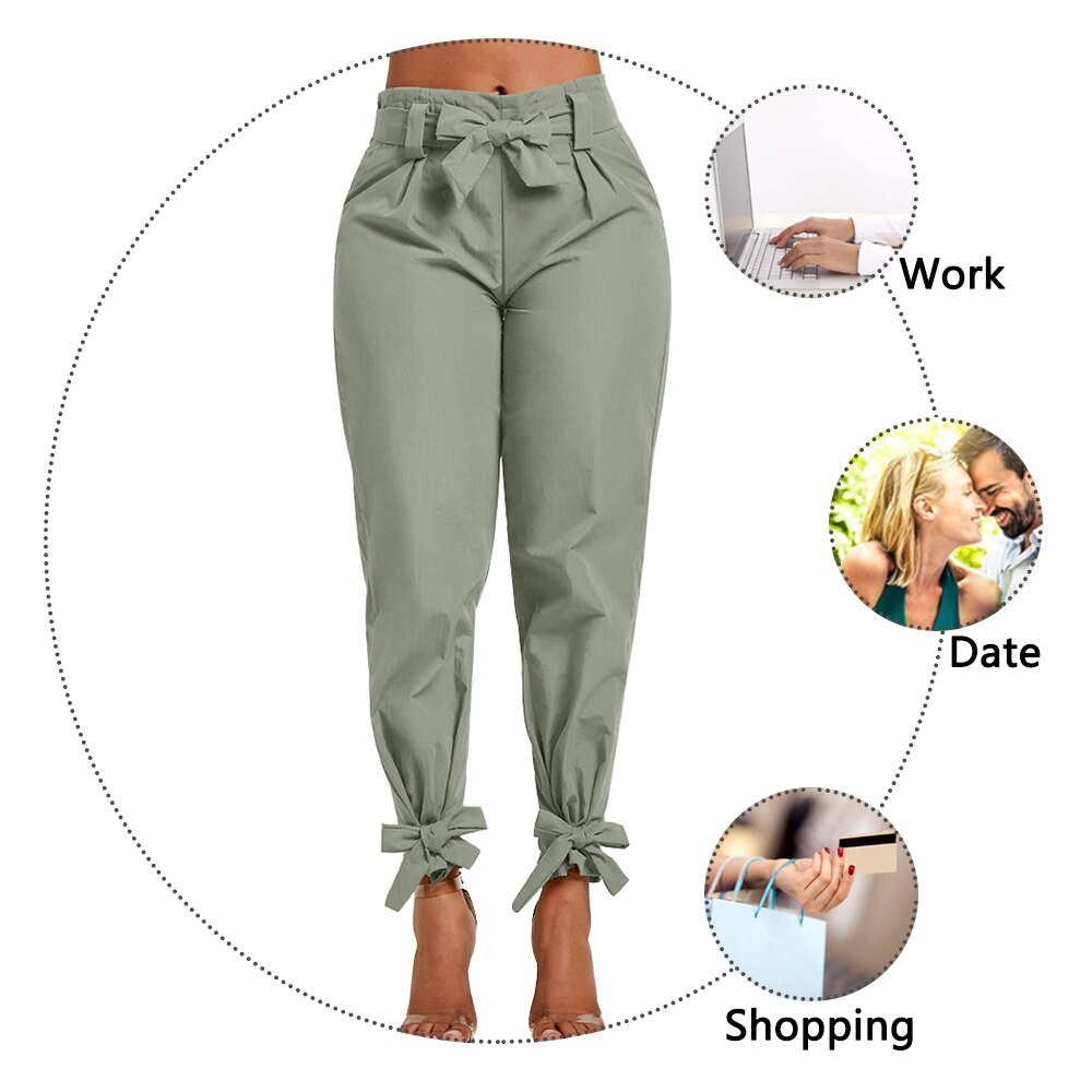Women Pant Casual Solid High Waist Belt