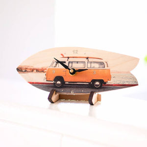 Sunshine Bus Surfboard Table Clock with Stand