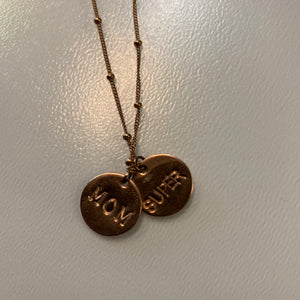Super Mom Double Coin Necklace - Olia