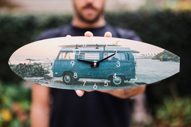 Blue Bus Surfboard Wall Clock