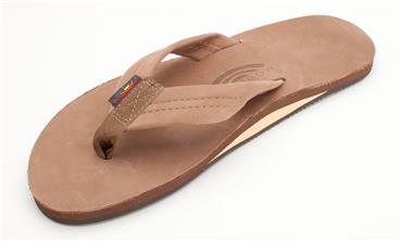 Premier Leather Dark Brown Single Layer Sandal - Rainbow Sandals